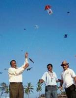 Kites adorn skies at Panambur beach