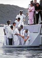Gandhi ashes immersed in Indian Ocean