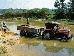 Sand mining going on unabated in Mudigere