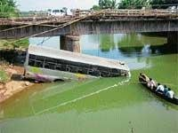 Bus plunges into river in Katpady
