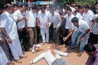 Cong workers burn Halappa's effigy, demand CBI probe