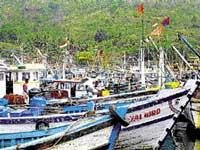 Fishing trawlers forced to anchor at port