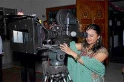 Young director behind the camera