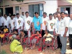 Wheelchairs distributed to 26 physically-challenged