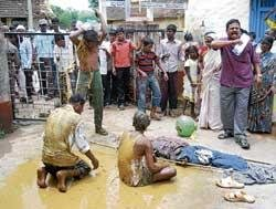 Protesting Dalits smear themselves with human excreta
