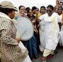 Women yatris match steps with men