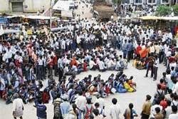 ABVP members protest  hike in bus fare, exam fee