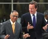 Cameron has breakfast with Guv, visits Infosys