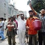 Toilet staff protest with sewage