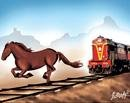 Horse wins 'life race' with train