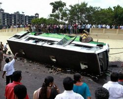 Bus falls off flyover, 40 injured