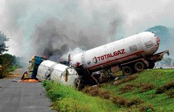 Gas, milk tankers collide, two killed