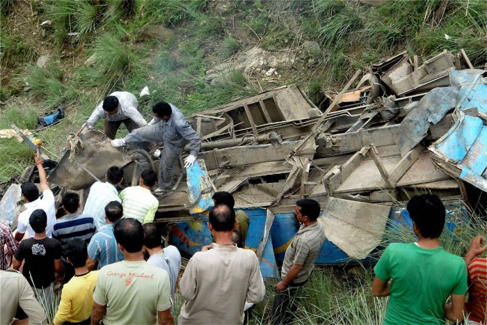 Overcrowded HP bus falls, 52 people dead