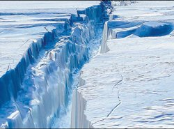 Glaciers cracking due to presence of excessive CO2