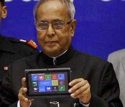 Pranab launches improved Akash-2 tablet