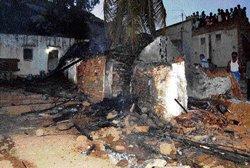 Deepavali rocket guts two houses