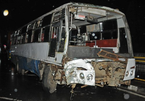 24 injured as private bus turns turtle