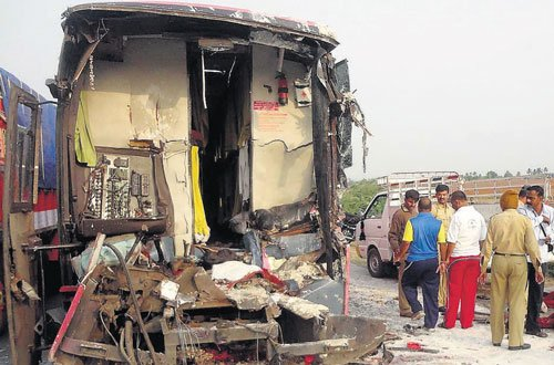 Bus hits stationary lorry, three crushed to death