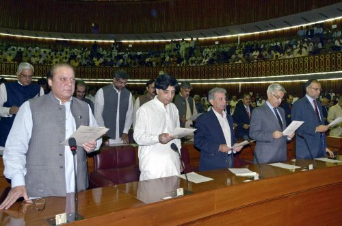'Pakistani MPs' oath taking marks historic transition'