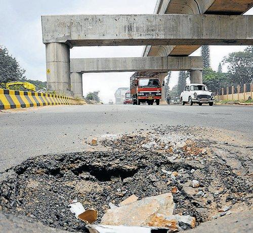 Potholes turn MG Road into an eyesore
