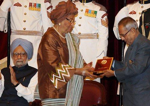 Liberian President conferred Indira Gandhi peace prize