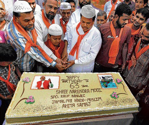 Modi celebrates birthday in public domain