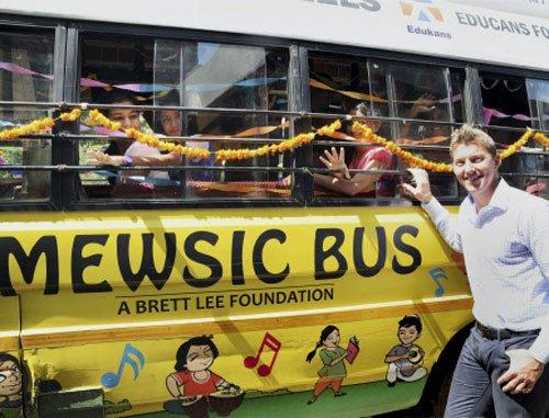 Brett Lee's 'Mewsic' bus takes lessons to Delhi slums