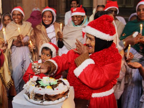Santa Claus brings joy to Vrindavan widows