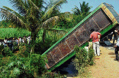 Bus falls into stream in Mandya, five killed