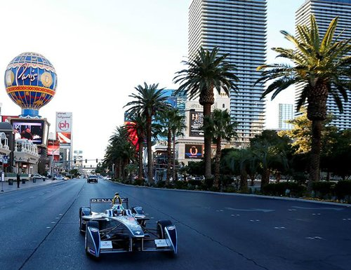 First Formula E car dazzles Las Vegas