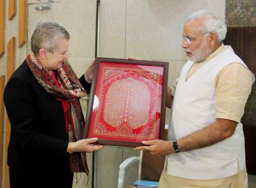 US ambassador Nancy Powell meets Modi