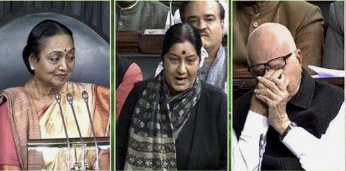 Sushma praises Sonia, moves Advani to tears