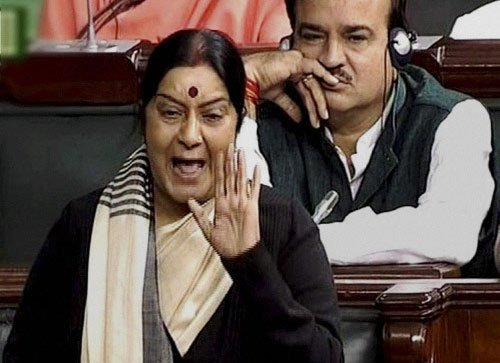 Swaraj opposes BSR Cong's merger with BJP