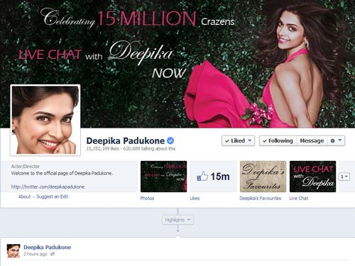 Deepika thanks 15 mn Facebook fans with chat