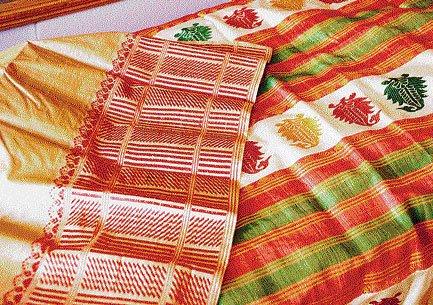 An alternative golden silk for sari borders