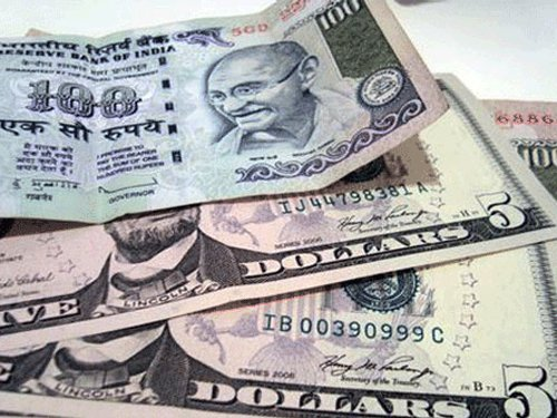 Re loses 10 paise against dollar