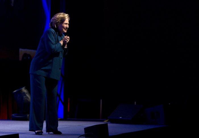 Shoe hurled at Hillary Clinton during Las Vegas speech