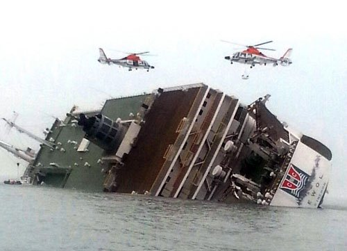 Two dead, 293 missing as ship sinks off South Korea