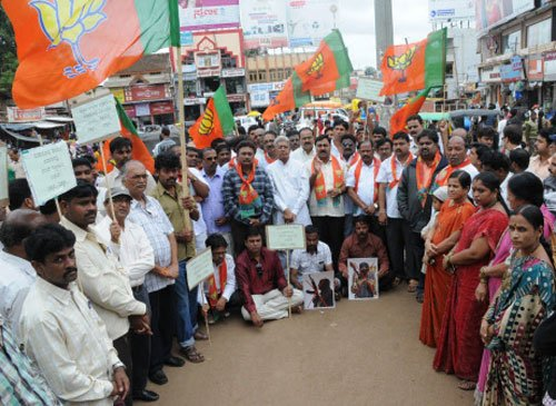 BJP protests in Varanasi over poll panel's decision