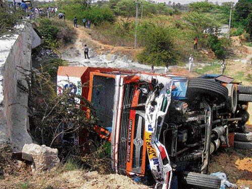 2 killed as lorry runs amok