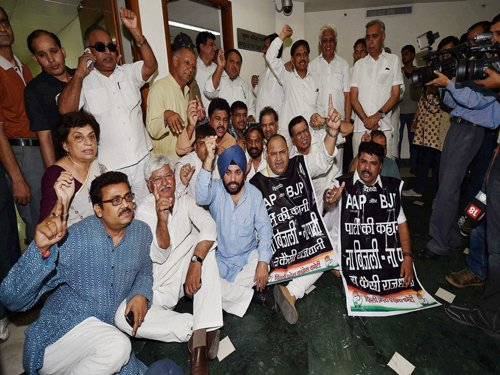 Congress protests Delhi's water, power crisis; hold top official hostage
