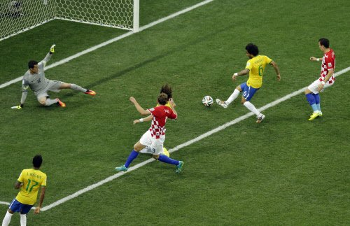 Marcelo scores Brazil's first World Cup finals own-goal