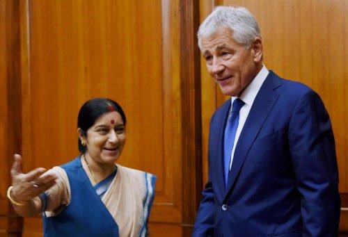 Hagel meets Modi