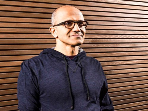 Microsoft CEO Nadella gets doused with bucket of ice water