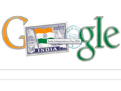 Google's doodle features independent India's first stamp