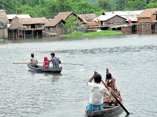 Monsoon rain pounds Assam
