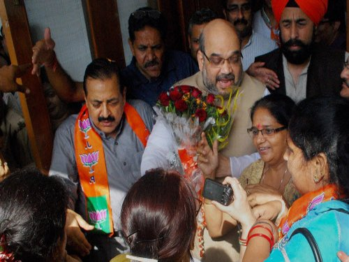 On first visit to J&K after becoming BJP chief, Shah discusses poll strategy