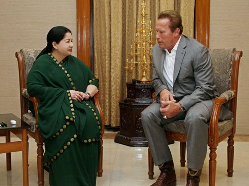 Arnie lands in Chennai, meets Amma