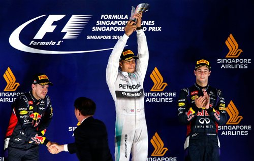 Hamilton wins in Singapore as Rosberg limps out