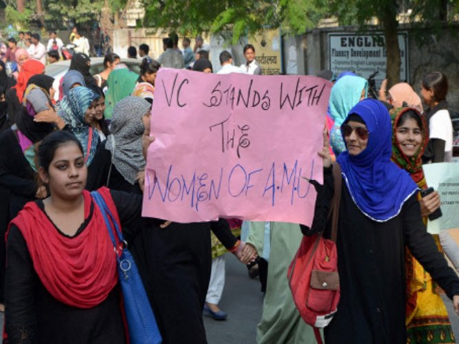 AMU students take out march against proposed BJP event